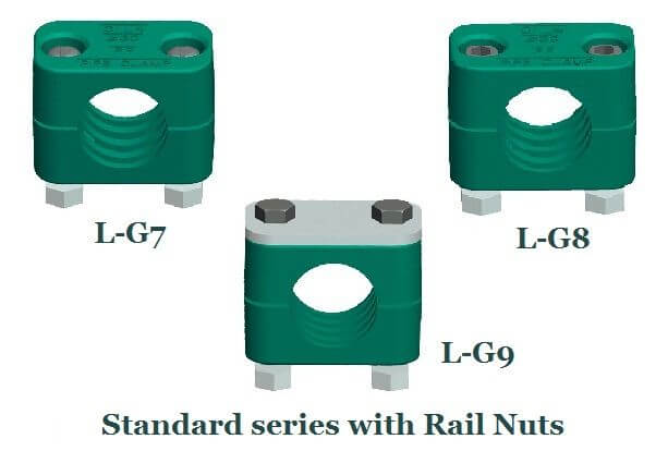 rail nut hydraulic pipe clamps